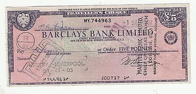 ITALY STAMP ON BARCLAYS BANK 1967 TRAVELLERS CHEQUE .Rfno.110.
