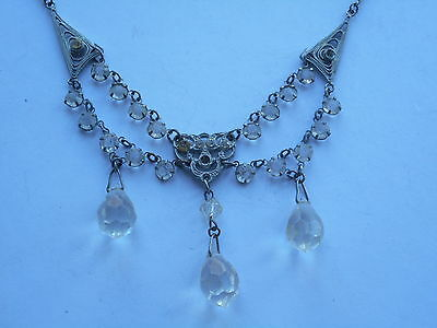 Attractive Art Deco Costume Swag Necklace Silver Coloured Metal & Paste Glass