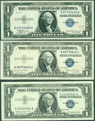 $1.00 SILVER CERTIFICATES 5 diff, 1935, 1935D, 1957, 1957A, 1957B, all AU or UNC