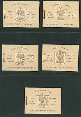 Weeda Canada BK33a Investment lot of 5 VF mint War Issue booklets, CV $337.50