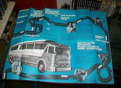 Map Of Greyhound's Road To Savings Brochure. Super 7 Scenic Cruiser
