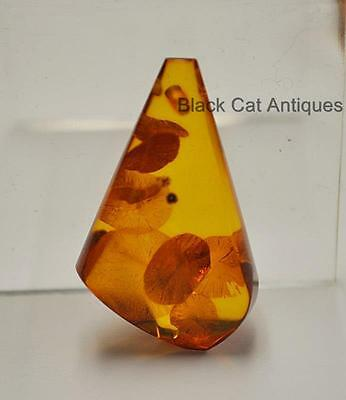 German Estate Find - Genuine Honey Amber Contemporary Polished Pendant 5.4 Grams