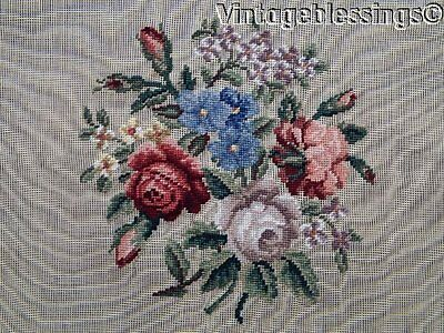 """Beautiful PreWorked NEEDLEPOINT Cabbage Roses Bouquet 27"""""""