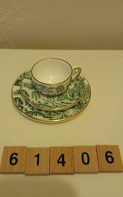 A Coalport 'Willow' Cup, Saucer and Plate Trio
