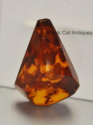 German Estate Find - Genuine Cognac Amber - Angular Polished Pendant 4.1 Grams