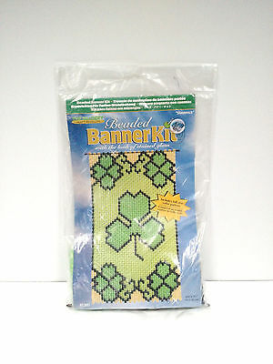 """Vintage NEW Beaded Banner Kit SHAMROCK 6""""x11"""" USA #5385 look of stained glass"""