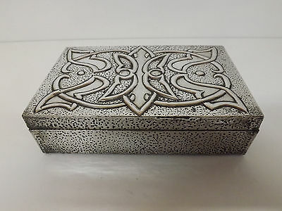 Arts & Crafts Wooden & Embossed Pewter Box