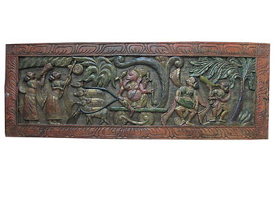 Antique Vintage Carved Headboard Ganesha Panel Riding A Chariot Pulled By Rats