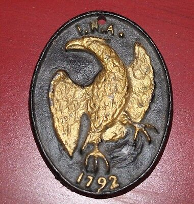 Vintage Repro Cast Iron Fire Insurance Company Marker Plaque Sign Eagle INA