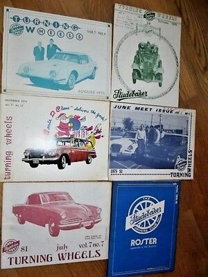 Turning Wheels Magazines, 9 mags., 1973, '74, '75 + Drivers' Club Roster '75-'76