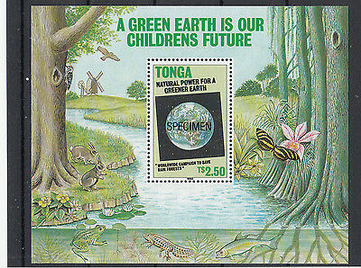 Tonga:1990 Green Earth miniature sheet opt SPECIMEN. Sg MS1072s.MUH