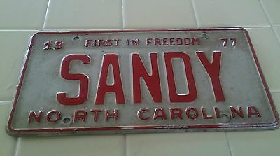 "Rare 1977 North Carolina First in Freedom License Plate ""SANDY"""