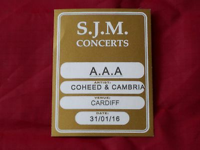 Coheed & Cambria Backstage Local Crew Aaa Sticky Pass 2016 Tour Unused