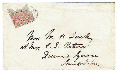 New Brunswick torn #1 on a 1852 cover