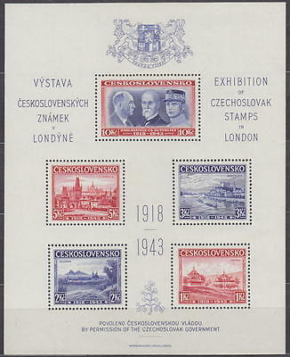 Czechoslovakia 1943 - s/s commemorative block issued in London MLH