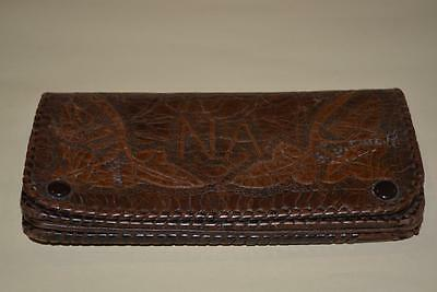 """Vintage Hand Tooled Leather Purse or Wallet (with strap) """"NA"""""""