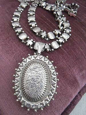 Victorian Style Sterling Silver  Locket & Book Chain Necklace