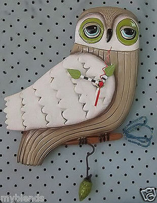 """Allen Designs Michelle Hand Painted Collectible Pendulum Wall clock """"Snow Owl"""""""