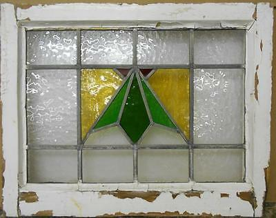 """OLD ENGLISH LEADED STAINED GLASS WINDOW Nice Abstract Design 21.75"""" x 17.25"""""""