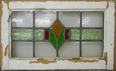 "MID SIZED OLD ENGLISH LEADED STAINED GLASS WINDOW Geometric Stripe 23"" x 14"""