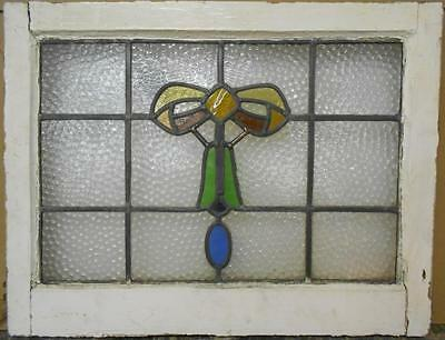 "MID SIZED OLD ENGLISH LEADED STAINED GLASS WINDOW Ribbon Bell 23.75"" x 18.5"""