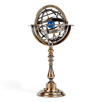 Bronze Antiqued Armillary Dial Sphere Globe Desk Top 14""