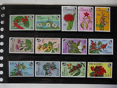 Gambia 1977 Flowers Set Complete Set Sg371-83 Mnh