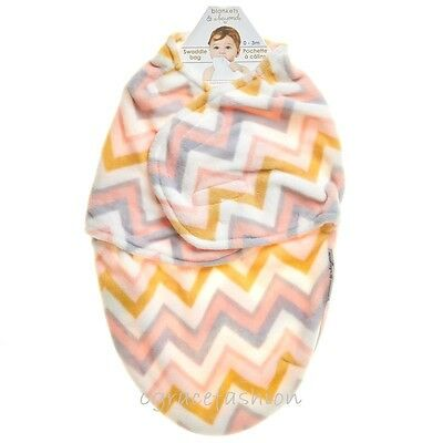 Blankets & and Beyond Baby Girl Pink Gray Chevron Soft Swaddle Bag Blanket 0-3M