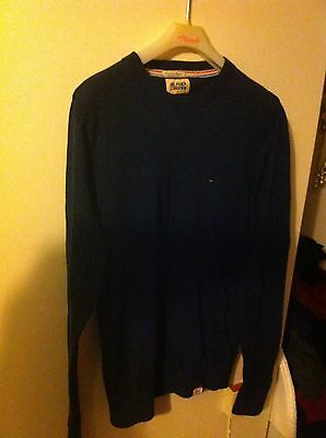 Men's Navy Thin Knit Hilfiger Denim Jumper Size Medium
