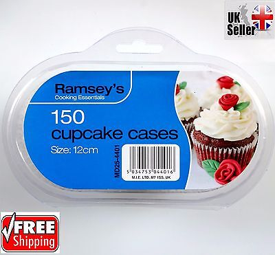 150 Large Plain High Quality Cupcake Cases Fairy Cake Muffin Baking Paper Party