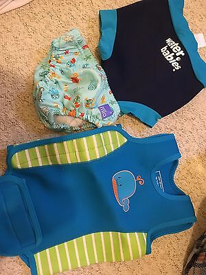 Baby Wetsuit Body Warmer, Diaper Nappy Cover (Size L), Reusable Swim Nappy Set