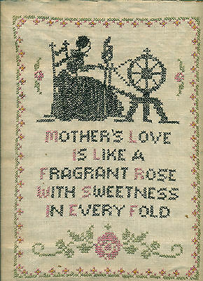 "VINTAGE HAND EMBROIDERED CROSS STITCH SAMPLER ""Mother's Love"""