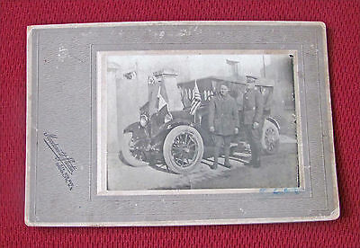 Vintage Early 1900's  2 Men Standing Beside Automobile Sepia Tone Cabinet Photo