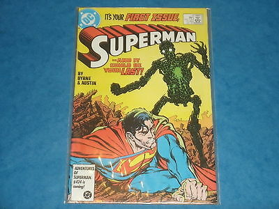 DC Comics: SUPERMAN #1 First Issue (Jan.1987)  Byrne & Austin Metallo!