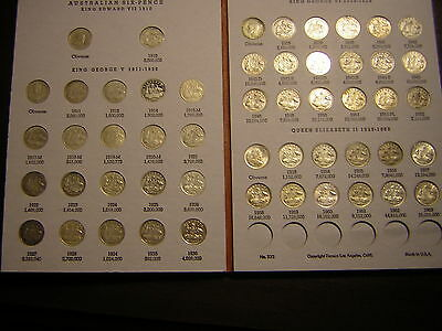Sixpence Set Australian - Reasonable Grades - In Album  --  No Over Dates