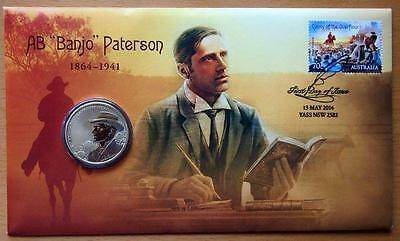 Australian Ab Banjo Patterson 2014 Pnc Stamp And $1 Coin Covers