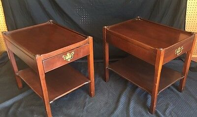 """Excellent Pair Of  Antique Mahogany NightStands Signed """"HICKORY CHAIR CO."""""""