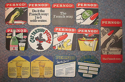 Collection of 13 Pernod French Aperitif advertising beermats from the 1970's+