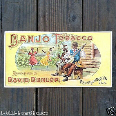 2 Vintage Original DAVID DUNLOP BANJO TOBACCO Label Black Americana 1960s