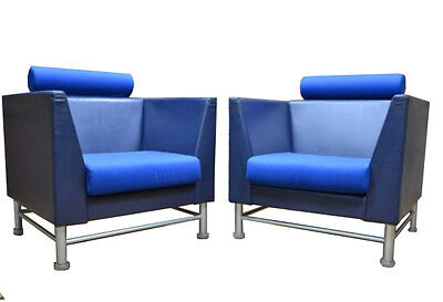 STYLISH PAIR OF BLUE LEATHER KNOLL EASTSIDE CHAIRS BY ETTORE SOTTASS 1980s