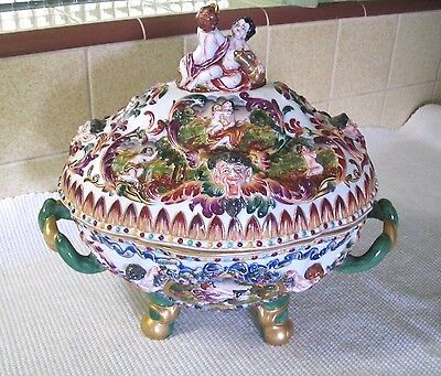 ANTIQUE CAPO DI MONTE TUREEN EARLY 1900's MARKED FLAWLESS CONDITION