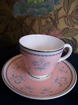 WEDGWOOD- PINK PIMPERNEL- #W3652- DEMITASSE CUP & SAUCER(s)- XLNT!  MINT! GILT!