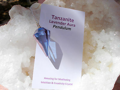 Tanzanite Aura Quartz Pendulum-GREAT COLOR!