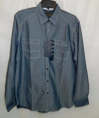 AMERICAN HERITAGE DAWSON and BROOKS NWT Blue Button Front Shirt Mens sz M