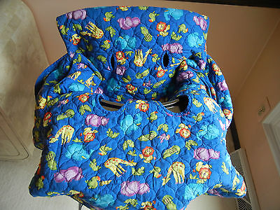 Babe Ease Shopping Cart High Chair Cover Animal Print with Solid Blue Back