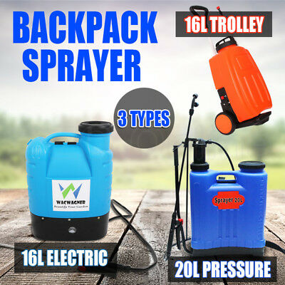 16L Electric Trolley 20L Pressure Backpack Sprayer Garden Farm Weed Killer Spray