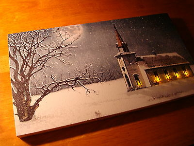 New Gorgeous Country Christmas Church In Snow Lighted Flicker Flame Canvas Print