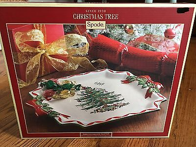 Spode CHRISTMAS TREE RIBBONS SQUARE SERVING PLATTER Plate Dishes China New Box