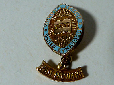 """""""womens League United Synagogue"""" Goldfilled Pin, Blue Enamel """"past President"""""""