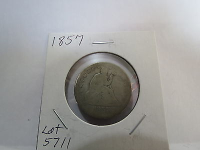 1857 Silver Seated Liberty Quarter Lot 5711